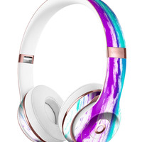 Running Purple and Teal WaterColor Paint Full-Body Skin Kit for the Beats by Dre Solo 3 Wireless Headphones