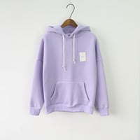 Women's Long Sleeve Purple Casual Harajuku Winter Hooded Sweatshirt Pocket Design Pullover Hoodie