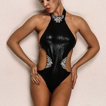 Joyfunear Rhinestone Detail Tie Back One Piece Swimsuit