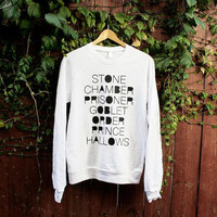 Unisex Harry Potter Raglan Pullover - Choose Size - Made to Order - American Apparel - Black on White