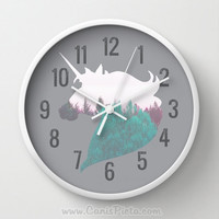 Dreamland Unicorn Wall Clock in Natural Wood, Black, or White Frames Fuchsia Teal Purple Forest Magic Horse Gift for Him Her Decorative Home