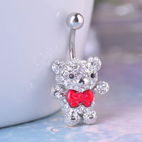 Red Bow Tie Teddy Bear Belly Button Rings