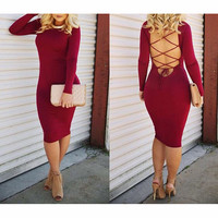 LONG SLEEVE TIGHT BACKLESS DRESS