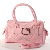 Hello Kitty Quilted Faux Leather Shopping Bag Handbag Tote Purse Baby Pink