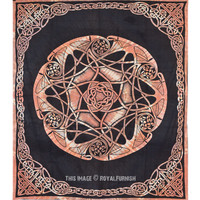 Black Celtic Star Knot Mandala Tapestry Wall Hanging on RoyalFurnish.com