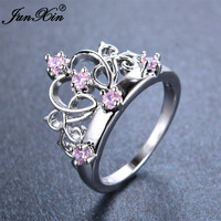 JUNXIN Cute Female Girls Pink Princess Crown Ring Promise White Gold Wedding Engagement Rings For Women Crystal Fashion Jewelry