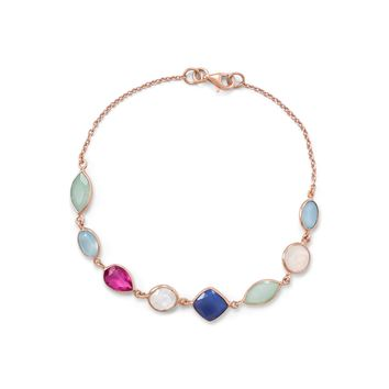 14k Rose Gold Plated Sterling Silver Chalcedony, Rainbow Moonstone and Blue Onyx Bracelet