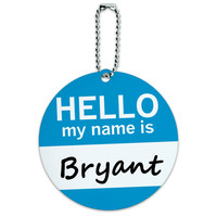 Bryant Hello My Name Is Round ID Card Luggage Tag