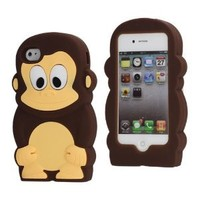 Leegoal Cute 3D Monkey Shaped Soft Protective Silicone Jelly Case for iPhone 4 4S - Coffee