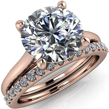 Willie Round Center Stone Bow Under Cathedral Engagement Ring