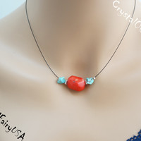 Red coral choker necklace red stone blue turquoise stone necklace