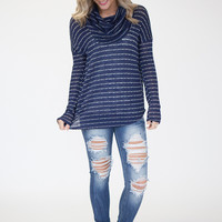 Striped Cowl Neck Sweater - Navy/White