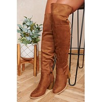 Endless Autumn Faux Suede Boots (Chestnut)