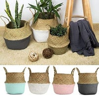 New Bamboo Storage Baskets Foldable Laundry Straw Patchwork Wicker Rattan Seagrass Belly Garden Flower Pot Planter Basket|Flower Pots & Planters