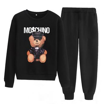 Moschino Fashion Letter Pullover Sweater Pants Two-Piece