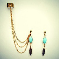 alapop — blue stone and feather ear cuff earrings