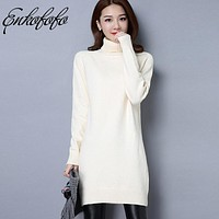 High Quality Women Sweater New Turtleneck Pullover Winter Tops Solid Cashmere Sweater Autumn Female Pullovers Wool Long Sweaters