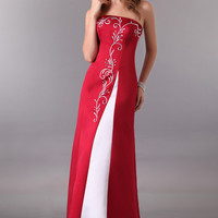 Red Strapless Embroidered Ribbon Detail Back Evening Dress