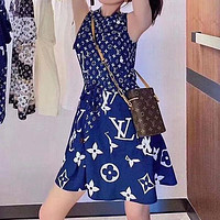 LV Louis Vuitton New Fashion Dress Letter Print Sleeveless Long Skirt