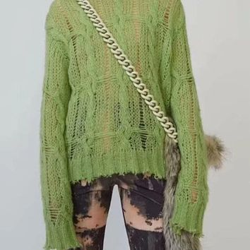 Distressed Neon Sweater