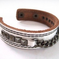 FREESHIPPING White leather bracelet with metal chains Wristband/Cuff | chicchoices - Jewelry on ArtFire