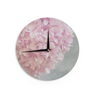 """Suzanne Harford """"Pastel Pink Hydrangea Flowers"""" Pink Floral Wall Clock"""