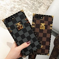 2018 LV Louis Vuitton iPhone 7 iPhone 7 plus - Stylish Grid Print Cute On Sale Hot Deal Matte Couple Phone Case For iphone 6 6s 6plus 6s plus