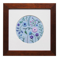 Blue and Purple Blooms on Light Blue Linen