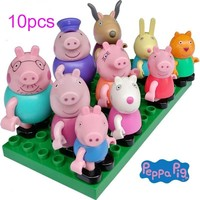 10pcs/set Genuine 2018 new Peppa Pig Cartoon Family Friends Figure Toy movable joints high quality kid toy - in Sealed bag