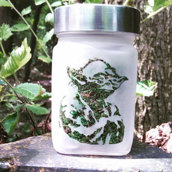 Yoda - Jedi Master - Etched Glass Stash Jar - Star Wars Inspired- Free UPGRADE to Priority Shipping within the US