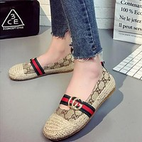 Fashion Casual Retro Straw Weave Multicolor GG Letter Fisherman Slip-On Shoes Women Loafer Flats Shoes