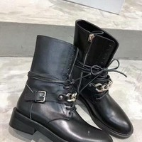 Givenchy  Trending Women Black Leather Side Zip Lace-up Ankle Boots Shoes High Boots