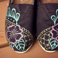 Floral Lace Brown Henna TOMS Shoes - Women