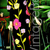 Dramatic FLOWER COAT Knitted with Colorful Crochet Design from Hem to Neckline Knitting with Flowers Crocheted Instant PDF Embroidery