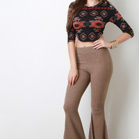 Rib Knit Bell Bottom Pants