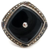 Black Onyx & Marcasite Sterling Silver Ring Vintage