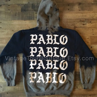 Bleached Pablo Pablo Pablo Paris Pop Up Shop Black Hoodie / I Feel Like Pablo TLOP Tour / Yeezy Merch