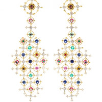 Wilfredo Rosado Alhambra 18K Gold and Precious Stone Drop Earrings