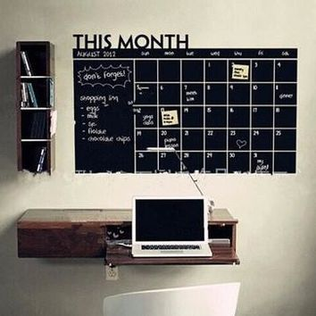 Home & Office Decor Chalk Board Blackboard Monthly Calendar Vinyl Wall Sticker (Size: 100cm*60cm) [8070934023]