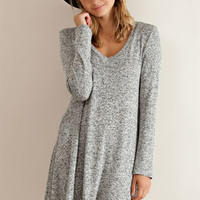 V-Neck Flare Dress - Grey