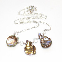 As Seen On Cedar Cove Petal Pearl Necklace Mauve Pearl Jewelry As Seen On TV The Artisan Group Silver Pearl Necklace Three Pearl Necklace