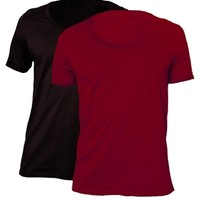 ASOS T-Shirt With Bound Scoop Neck 2 Pack Black/Oxblood SAVE 17%