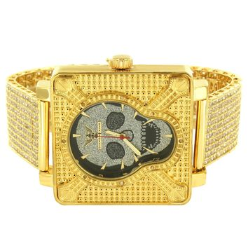 Skull Face Designer Men's Square Watch with Custom Gold Finish Band