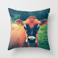 Cow 110 Throw Pillow by Olivia Joy StClaire