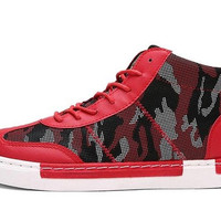 Red Designer Breathable Ankle Boot Sneakers