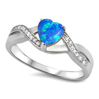 .925 Sterling Silver CZ Blue Fire Opal Heart Celtic Ladies promise ring size 4-12