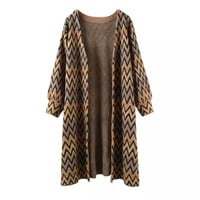 Patterned Sleeve Knitted Coat