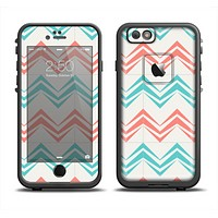 The Vintage Coral & Teal Abstract Chevron Pattern Apple iPhone 6/6s LifeProof Fre Case Skin Set