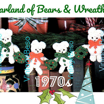 Garland of Bears and Wreaths Crochet Pattern • 2 Crochet PATTERNs • Bear • Wreath • 1970s Vintage Crochet Patterns • Instant Download PDF