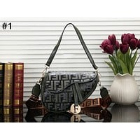 Fendi 2019 new retro double F letter embossed shoulder bag saddle bag #1